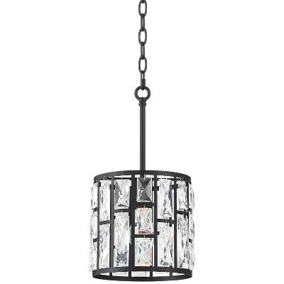 "Vienna Full Spectrum Black Mini Pendant Light 8 1/2"" Wide Modern Clear K9 Crystal Fixture for Kitchen Island Dining Room"