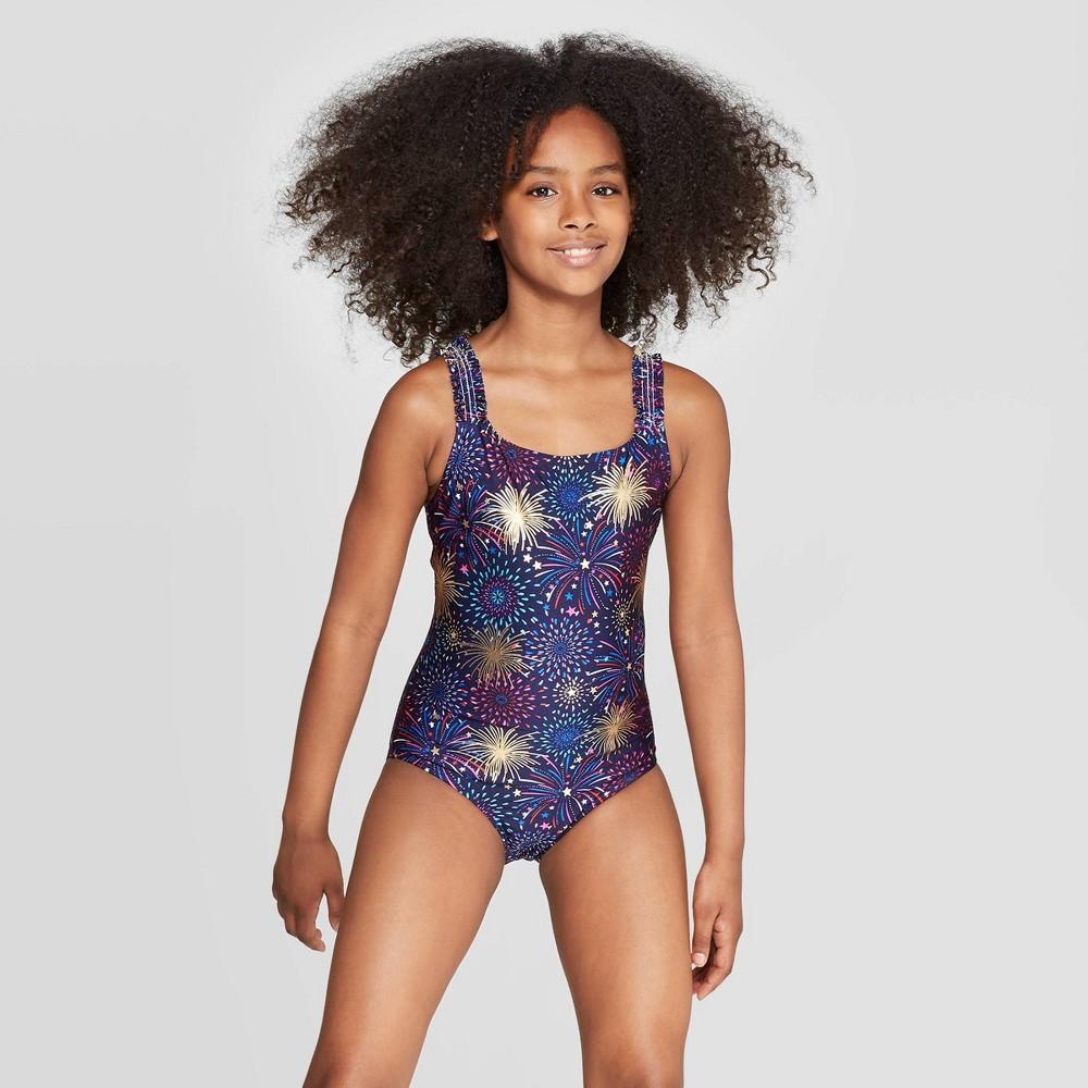 d278405c1 Girls Firecracker One Piece Swimsuit Cat Jack Navy XS Blue
