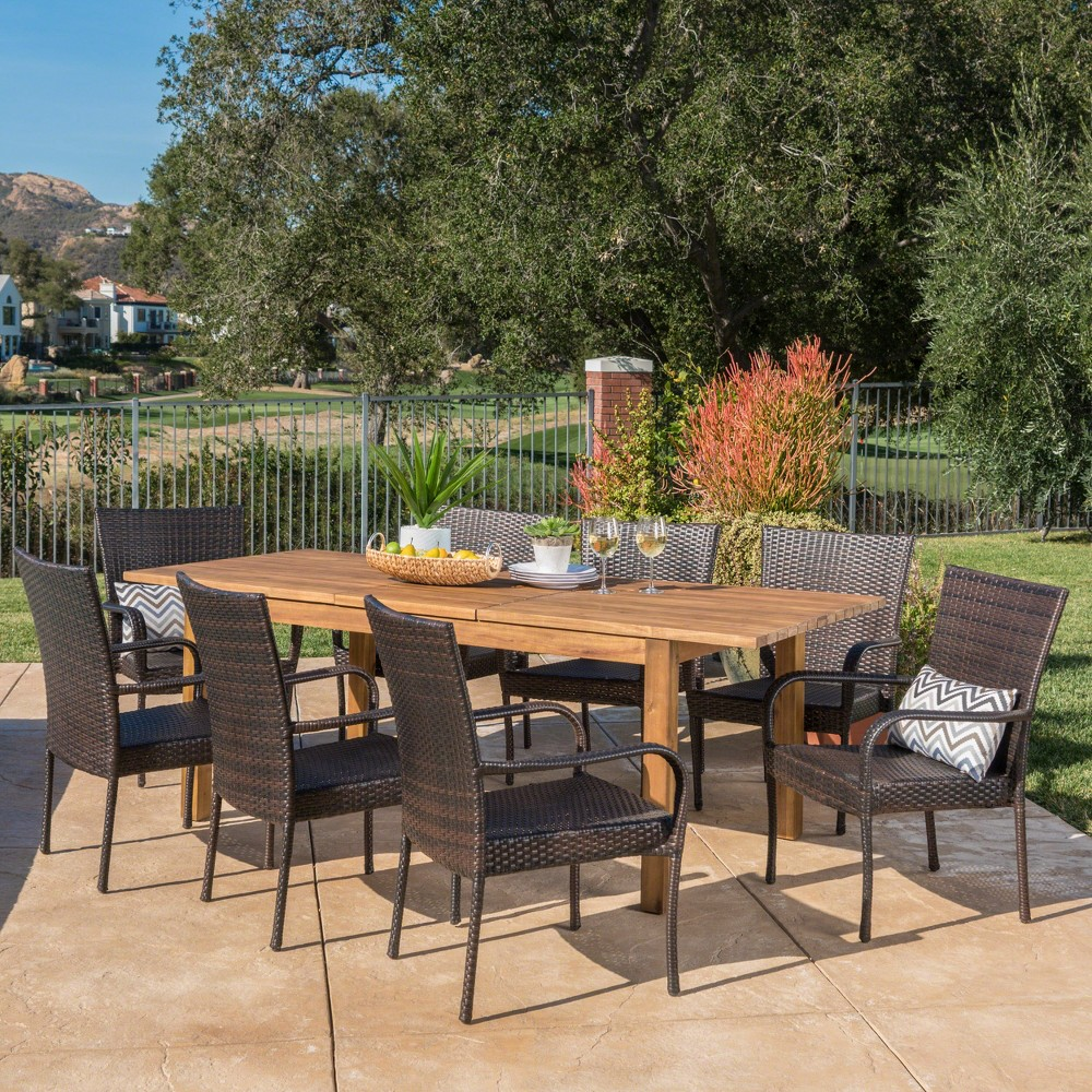 Lambert 9pc Acacia & Wicker Dining Set - Teak/Brown (Brown/Brown) - Christopher Knight Home