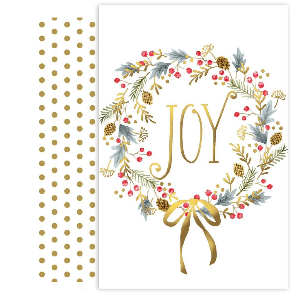 18ct Joy Wreath Cards - Canopy Street, Multi-Colored