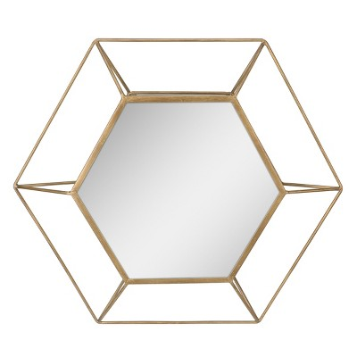 Hexagon Mirror Gold 24 x 21 - Stonebriar Collection