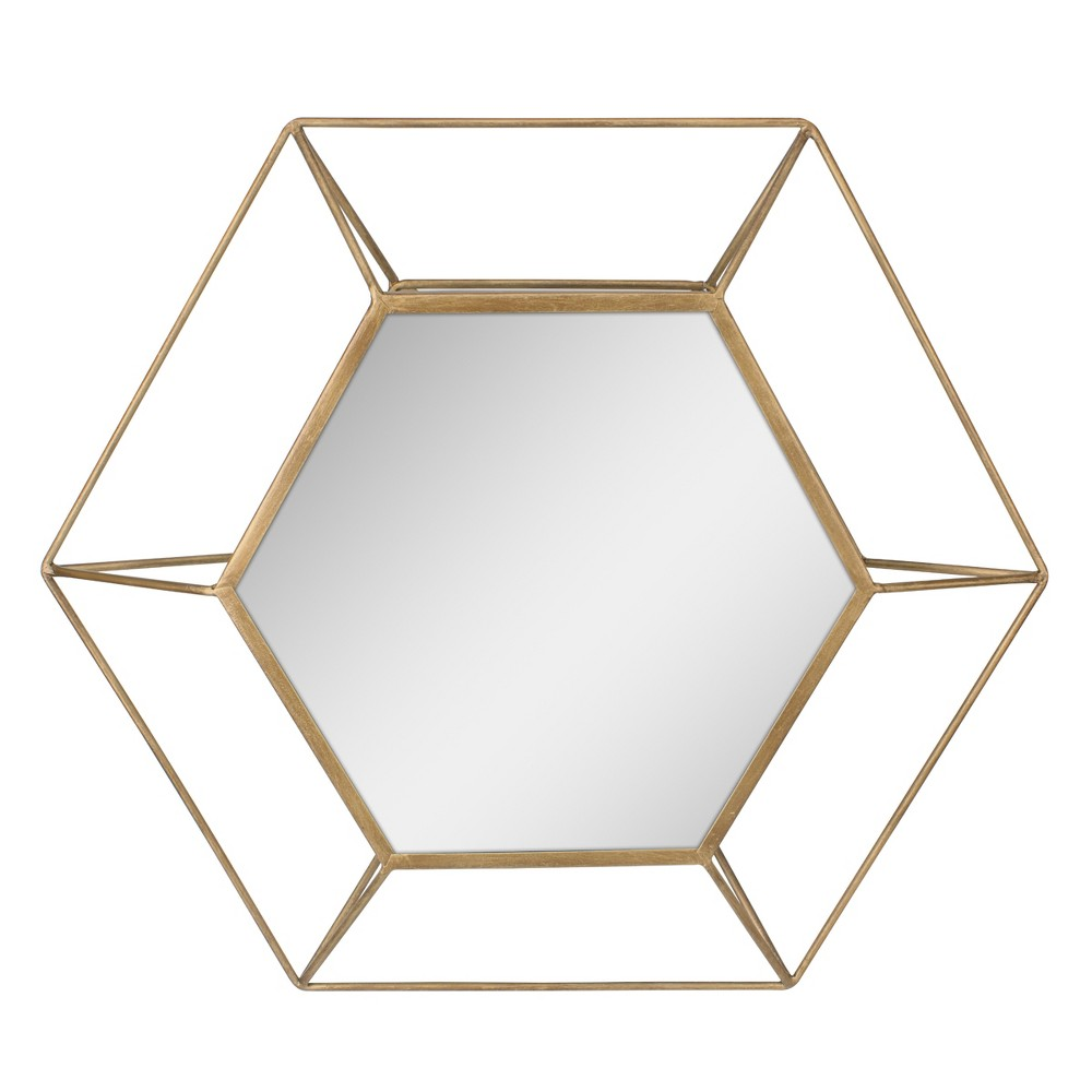 Image of Hexagon Mirror Gold 24 x 21 - Stonebriar Collection