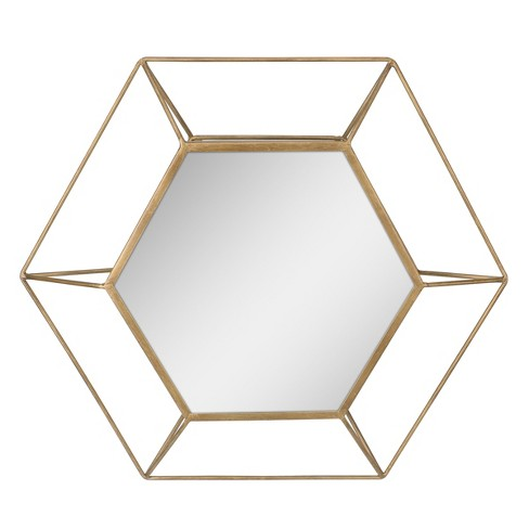 Hexagon Mirror Gold 24 x 21 - Stonebriar Collection - image 1 of 4