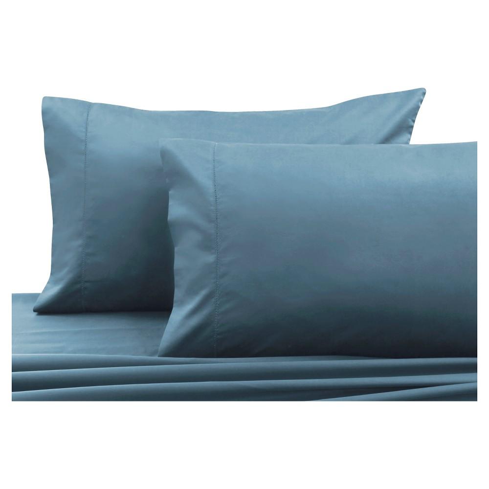 Cotton Sateen Pillowcase Pair (King) Sky Blue 750 Thread Count - Tribeca Living