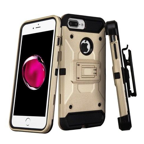 ASMYNA For Apple iPhone 7 Plus Gold 3-in-1 Kinetic Hard Hybrid Case w/stand Holster - image 1 of 4
