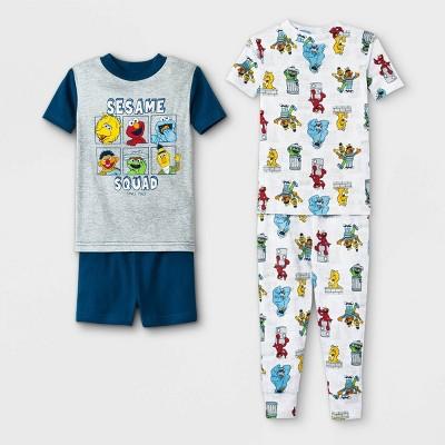 Toddler Boys' 4pc Sesame Street Pajama Set - Navy