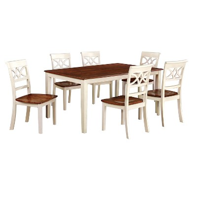 Charmant IoHomes 7pc Country Style Dining Table Set Wood/Vintage White And Oak