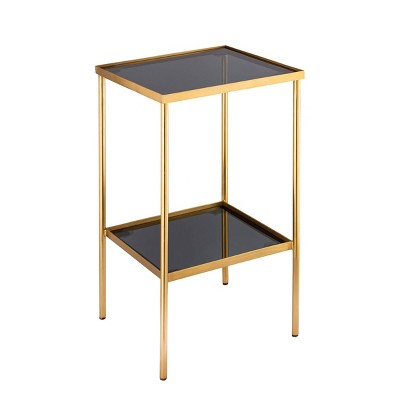 Shea Side Accent Table with Shelf Black/Gold - Carolina Chair & Table
