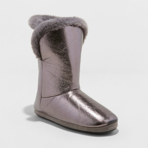 Women's Bootie Slippers - Xhilaration™ Pewter 6 - image 1 of 4