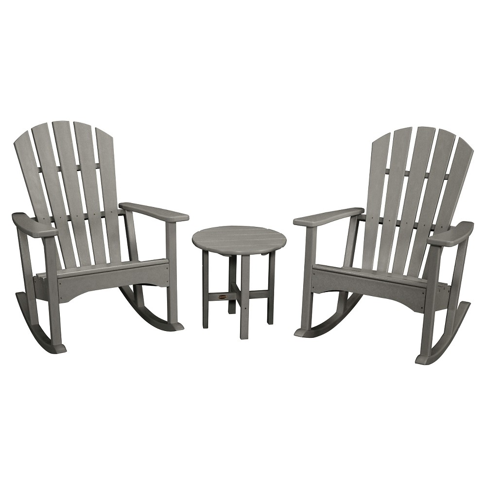 Polywood St. Croix 3pc Adirondack Rocker Set - Lime, Gray