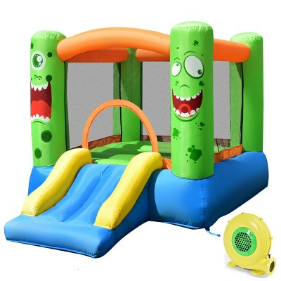 Costway Kids Playing Inflatable Bounce House Jumping Castle Game Fun Slider 480W Blower