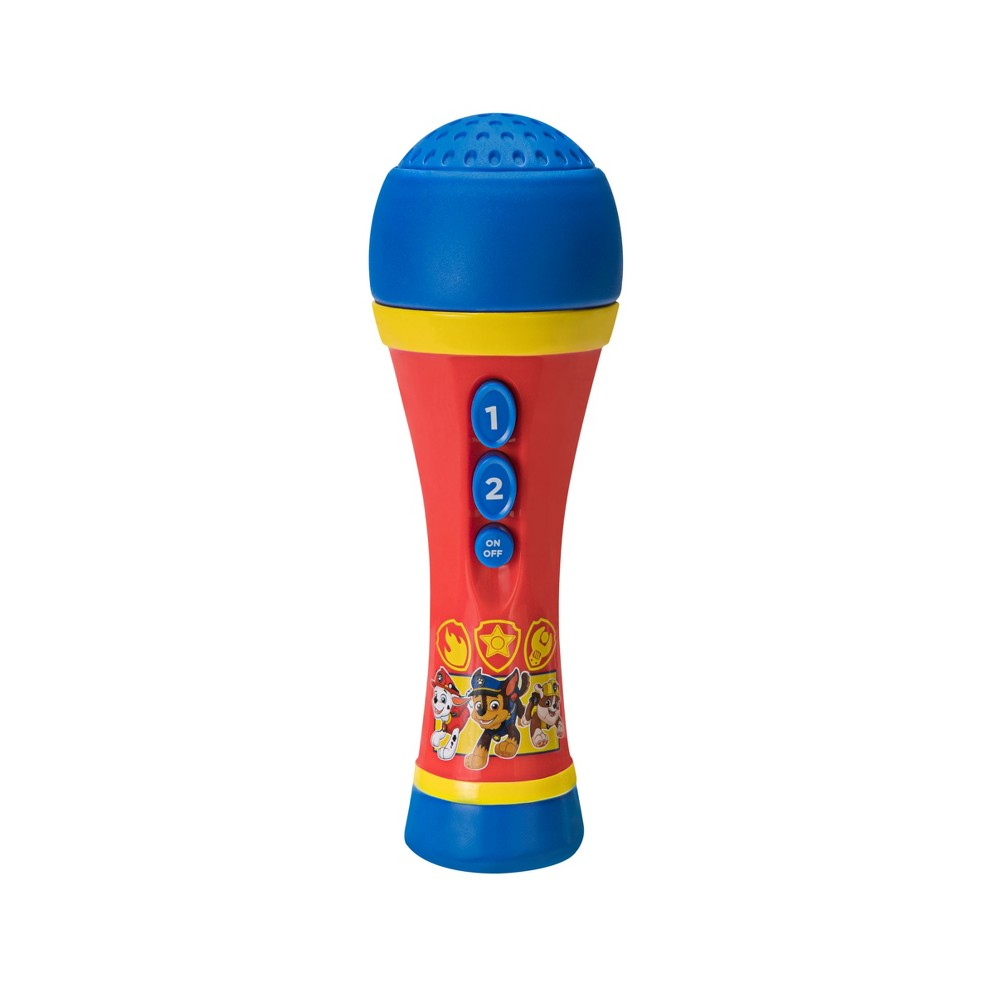 First Act Licensed Microphone - Paw Patrol The handheld, battery-operated mic with built in speaker, lets you take your show anywhere! Press the button for a cheering sound effect! Gender: Unisex.