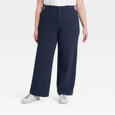 Women's Plus Size Wide Leg Ponte Pants - Ava & Viv™ Navy