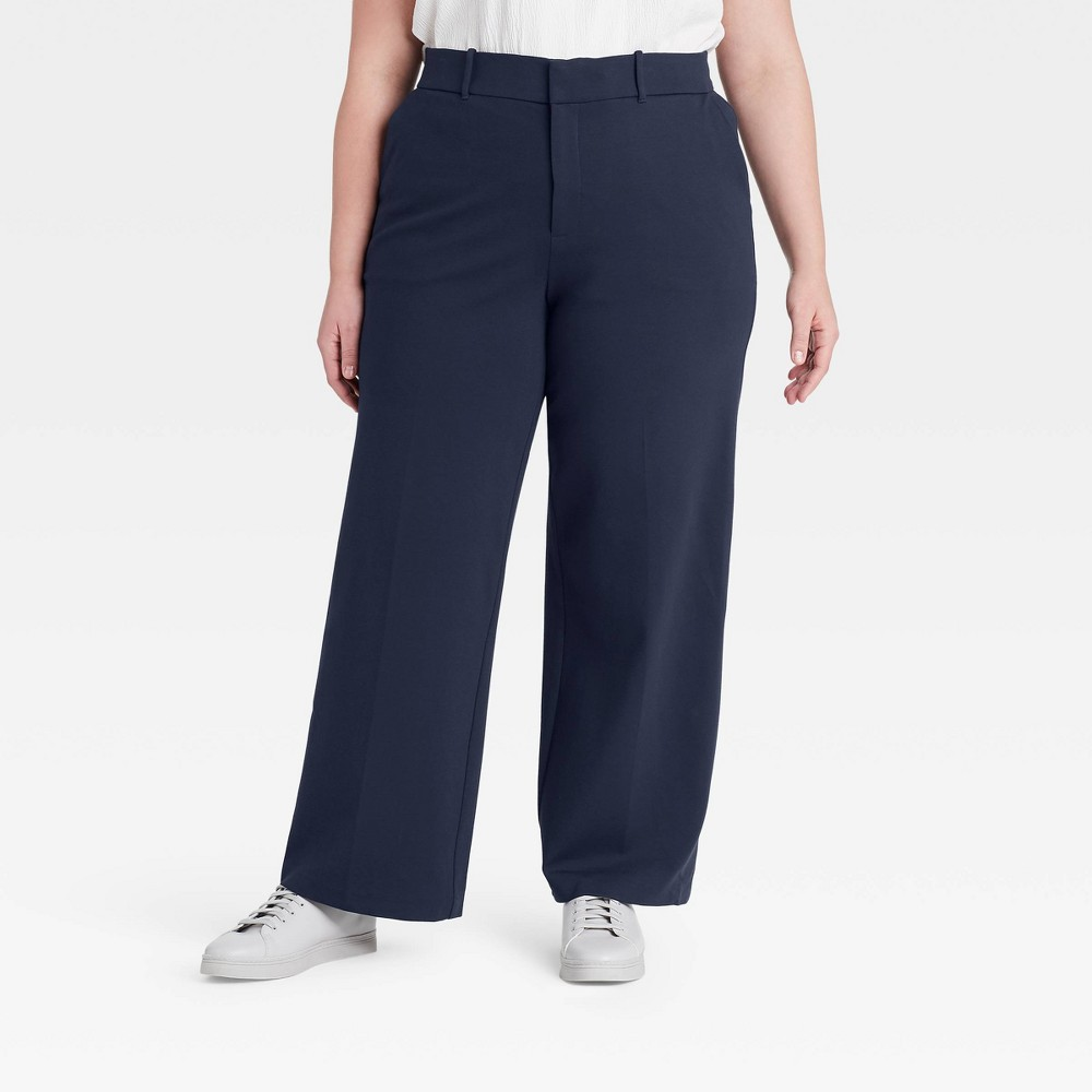 Women 39 S Plus Size Wide Leg Ponte Pants Ava 38 Viv 8482 Navy 14w
