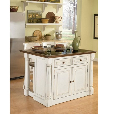 Monarch  Kitchen Island and Two Stools Antique White - Home Styles