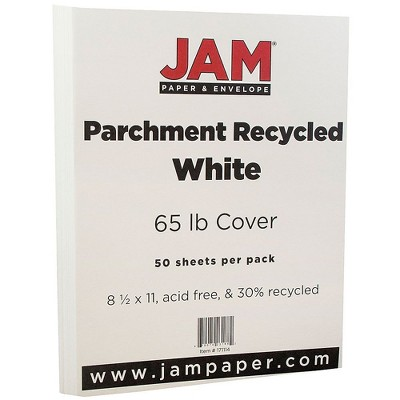 JAM Paper Parchment 65lb Cardstock 8.5 x 11 Coverstock White Recycled 171114