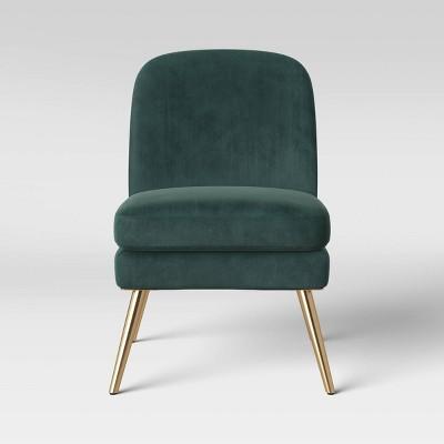Wexner Modern Slipper Velvet Chair Emerald Green - Project 62™