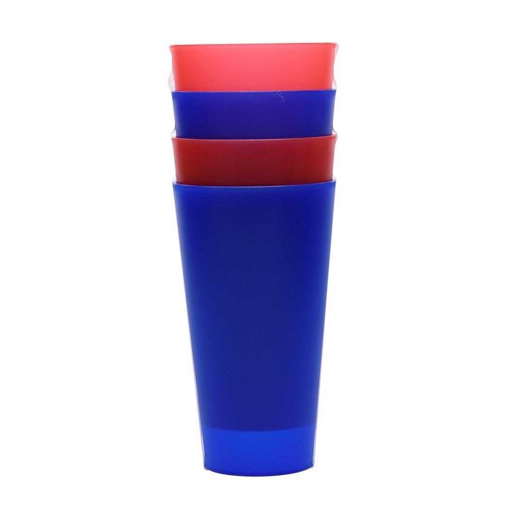 Plastic Tumblers 21oz Red/Blue - Set of 4