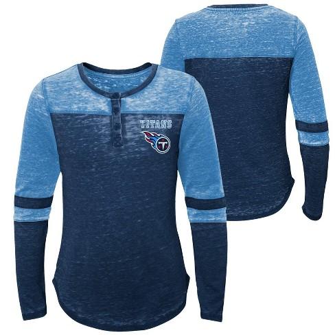 def21d83 NFL Tennessee Titans Girls' Reverse Pass Burnout Long Sleeve Henley T-Shirt