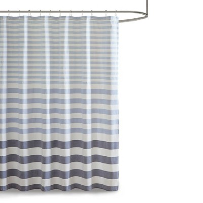 72 x72  Colette Yarn Dyed Woven Shower Curtain Navy