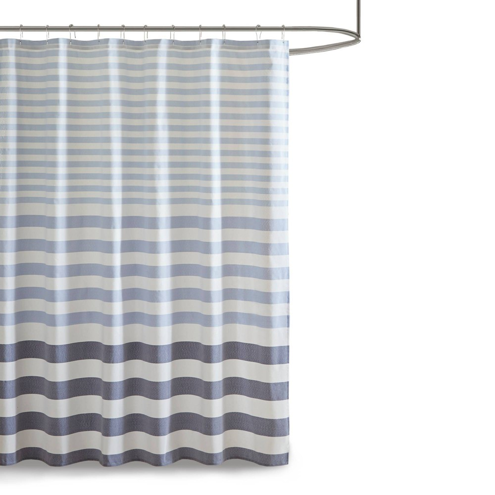"Image of ""72""""x72"""" Colette Yarn Dyed Woven Shower Curtain Navy, Blue"""