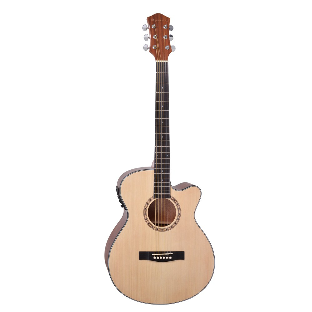 Spectrum Music 40 Acoustic Electric Cutaway Guitar with Bonus Amp Cable, Natural