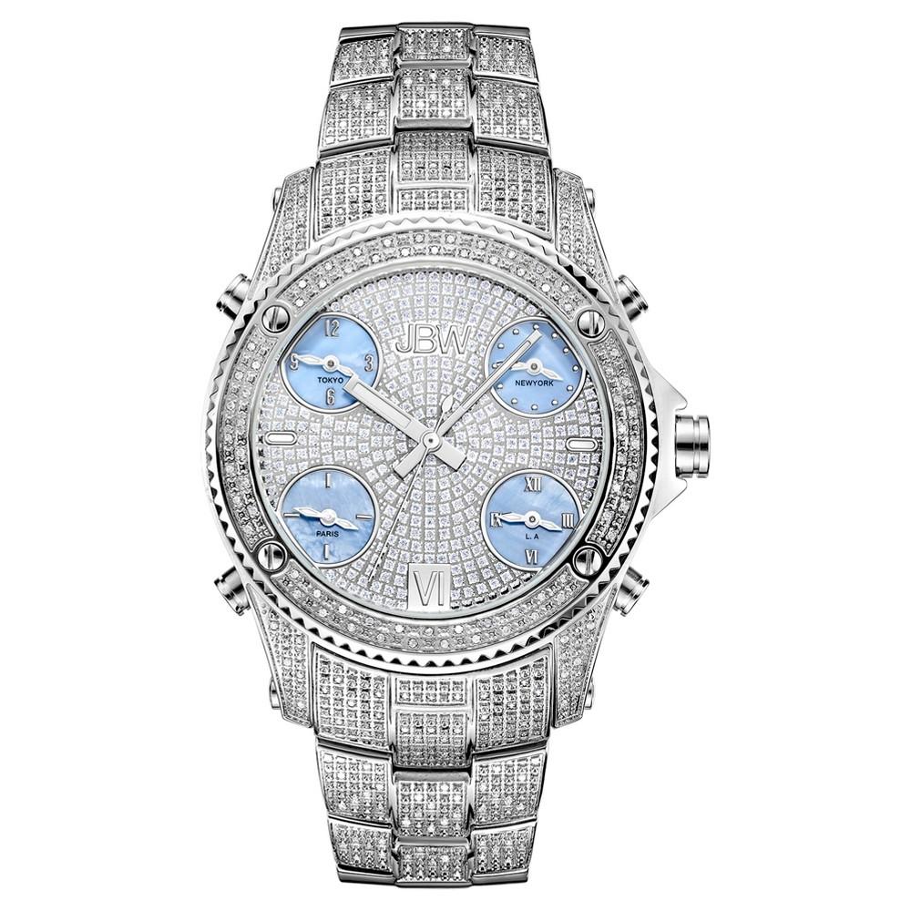 Image of Men's JBW JB-6213-C Jet Setter Multi-Time Zone Swiss Movement Real Diamond Watch - Silver, Men's, Size: Small