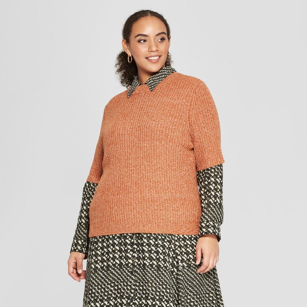 Women's Plus Size Short Sleeve Shrunken Elbow Crew Sweater- Who What Wear Yellow 2X
