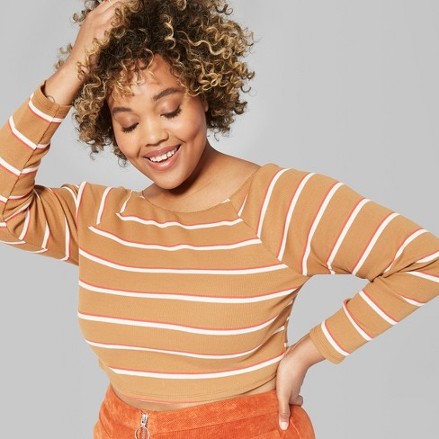 d680604e150458 Women s Long Sleeve Off the Shoulder Little T-Shirt - Wild Fable™ Orange