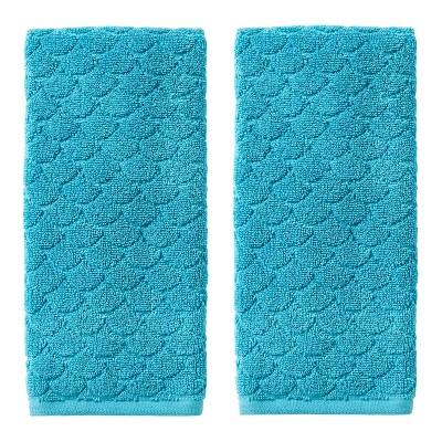 2pk Ocean Watercolor Scales Hand Towel Blue - SKL Home