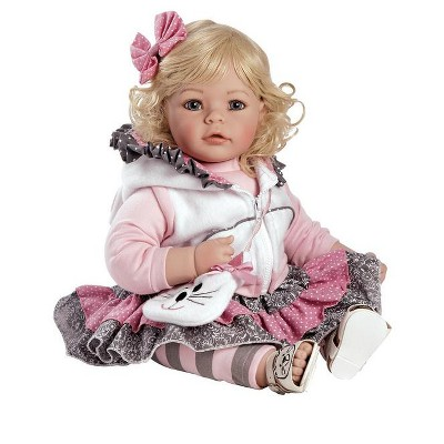 Adora Toddler Doll The Cat's Meow with cat themed outfit, hooded vest and fuzzy cat purse, 20 inches.