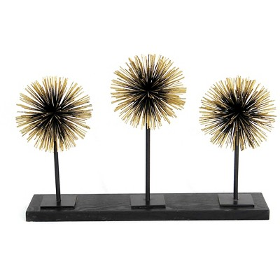 Three Starburst Tabletop Figurines On A Metal Stand (23.23 x6.69 x16.14 )