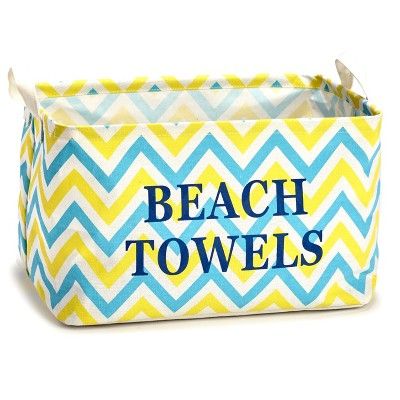 Lakeside Multicolor Beach Towels Storage Tote for Indoors with Carrying Handles