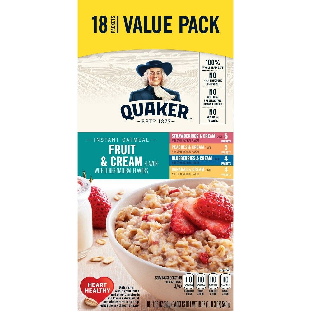 Quaker Instant Oatmeal Fruit & Cream Variety Pack 48 Count Now $8.78 (Was $12.99)
