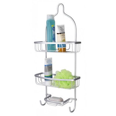 Home BasicsRust-Resistant 2 Tier Aluminum Shower Caddy with Built-in Hooks , and Soap Tray, Grey