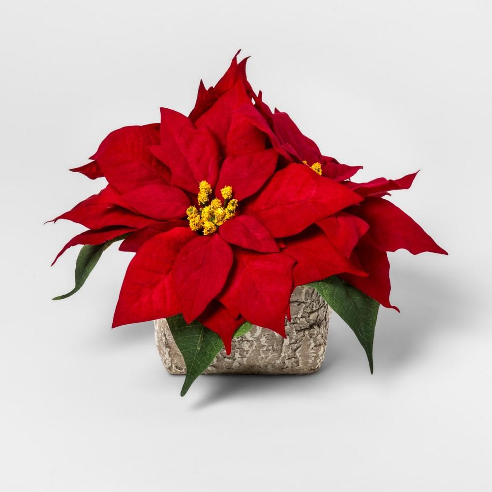 Faux Poinsettia in Birch Pot 9 - Lloyd & Hannah, Red