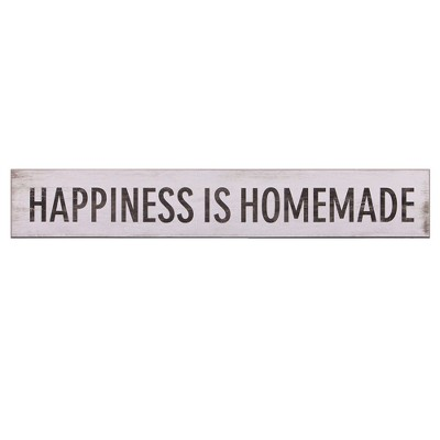 6 x36  Happiness Is Homemade Wood Wall Art White - Patton Wall Decor
