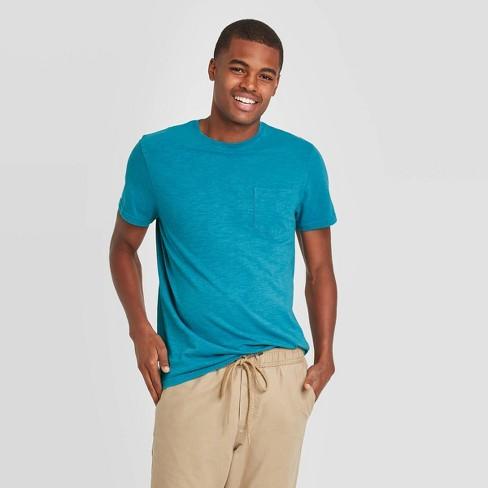 Men's Standard Fit Short Sleeve Slub Pocket Jersey T-Shirt - Goodfellow & Co™ Blue - image 1 of 3