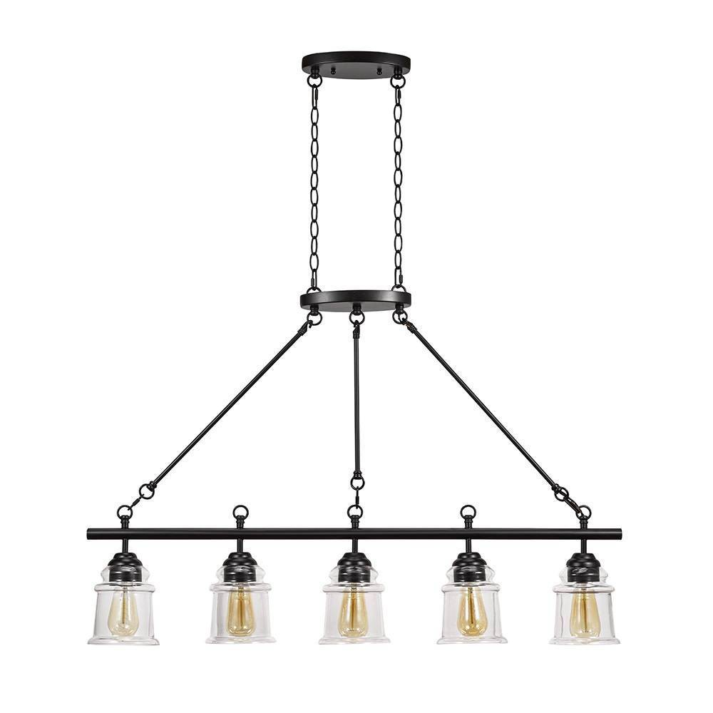 Image of Five Light Island Pendant Glossy Black - Cresswell Lighting, Brown