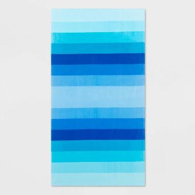 Basics Ombre Stripe Bath Towel Blue - Sun Squad™