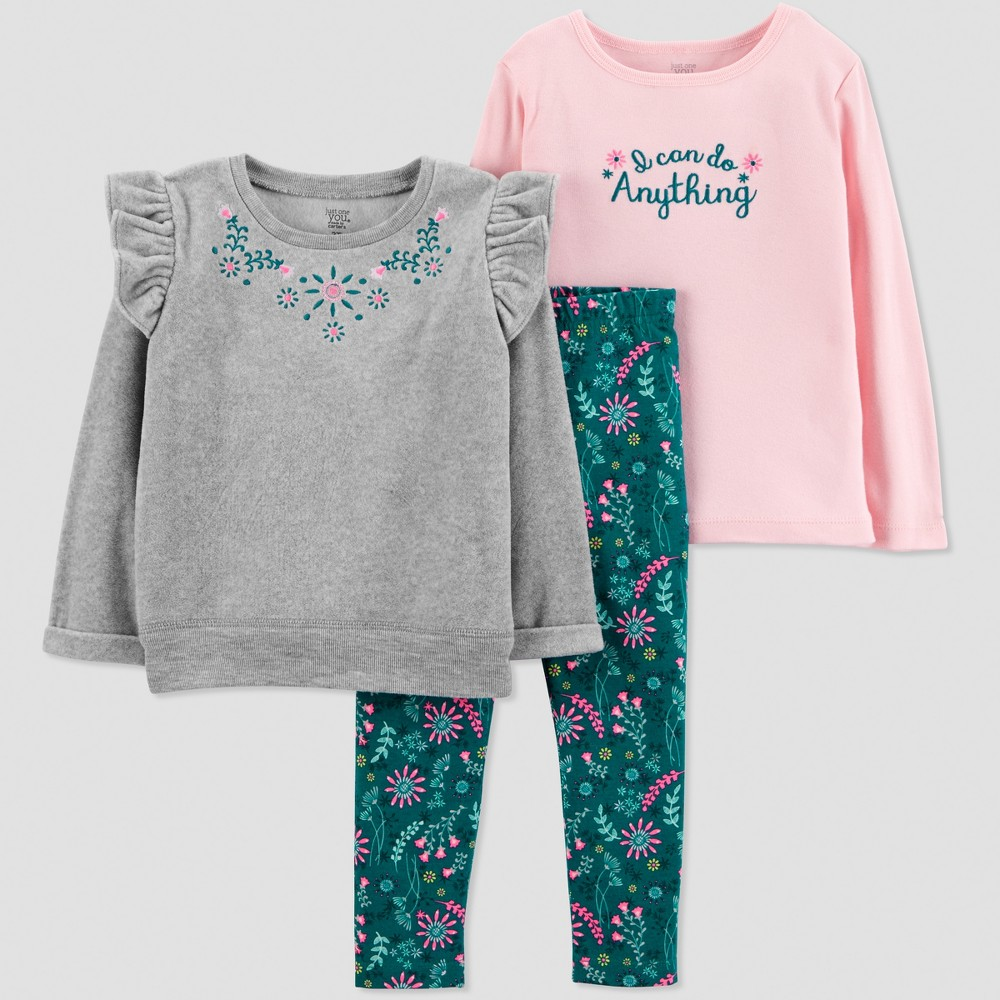 Toddler Girls' 3pc Heather Sweatshirt Set - Just One You made by carter's Lilac 4T, Gray