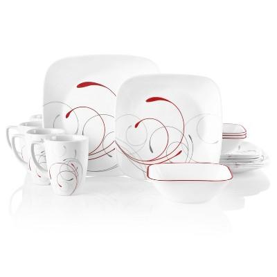 Corelle 16pc Vitrelle Square Splendor Dinnerware Set Red