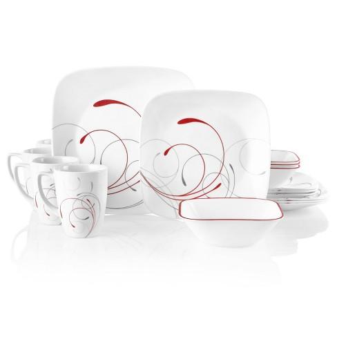 Corelle 16pc Vitrelle Square Splendor Dinnerware Set Red - image 1 of 4