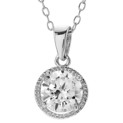 "1 CT. T.W. Round-cut Cubic Zirconia Prong Set Halo Pendant Necklace in Sterling Silver - Silver (18"") - image 1 of 2"