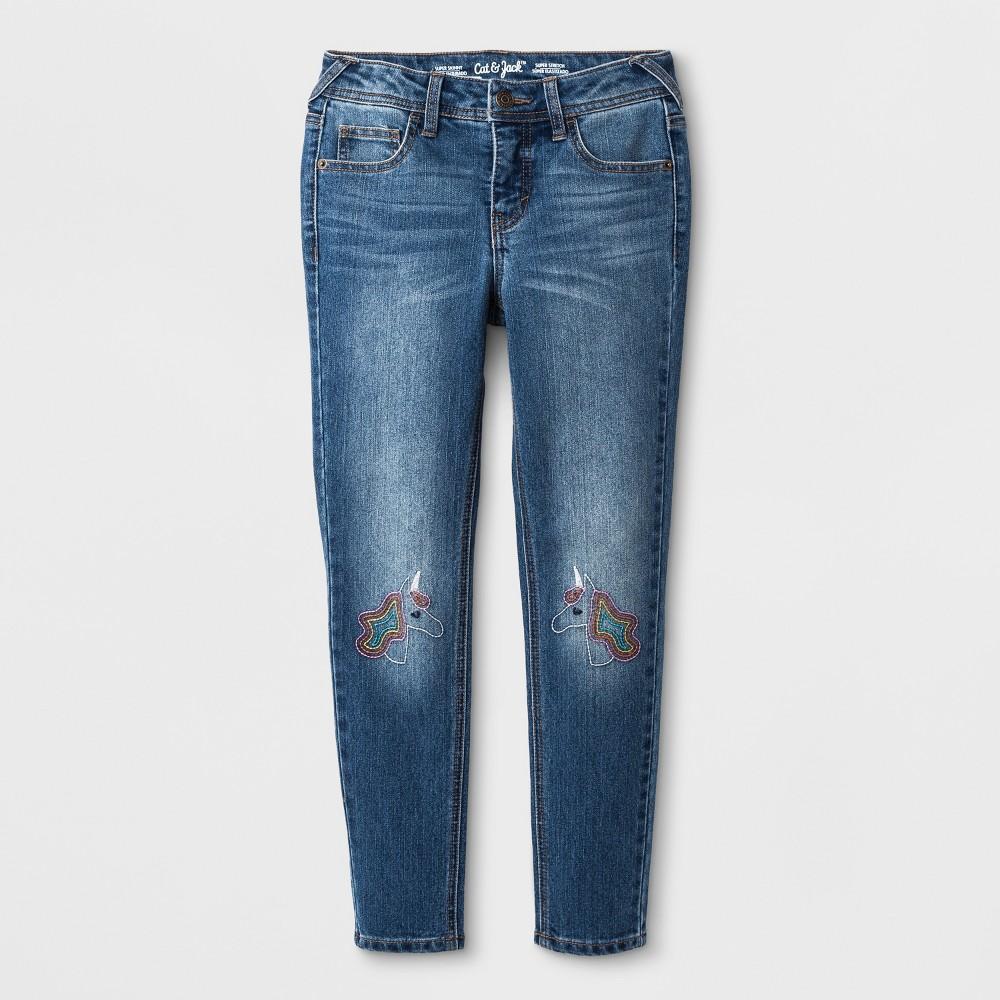 Plus Size Girls' Skinny Unicorn Embroidered Jeans - Cat & Jack Medium Wash 18 Plus, Blue