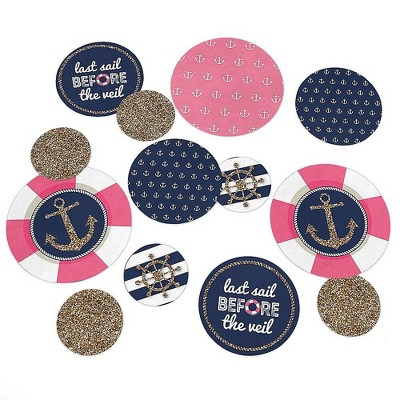 Big Dot of Happiness Last Sail Before the Veil - Nautical Bridal Shower Bachelorette Party Giant Circle Confetti - Party Décor - Large Confetti 27 Ct