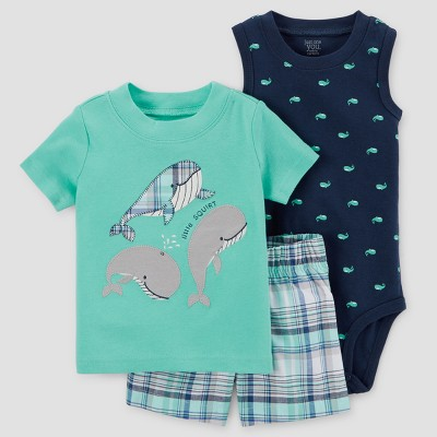 Baby Boys' 3pc Whales Set - Just One You™ Made by Carter's® Aqua 6M