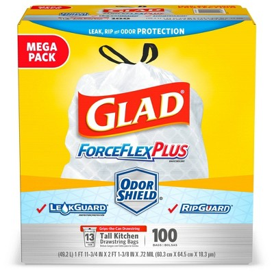 Glad ForceFlexPlus Unscented Tall Kitchen Drawstring Trash Bags - 100ct