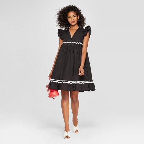 Womens Frill Sleeve Ric Rac Mini Dress Who What Wear Black Target