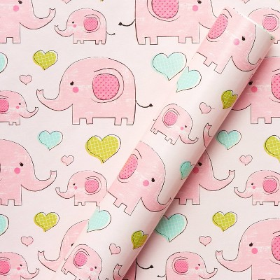 Elephant and Hearts Baby Wrapping Paper - Spritz™